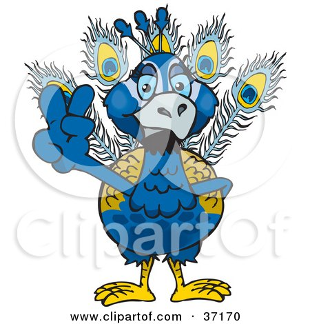 Clipart Illustration of a Peaceful Blue Peacock Smiling And Gesturing The Peace Sign by Dennis Holmes Designs