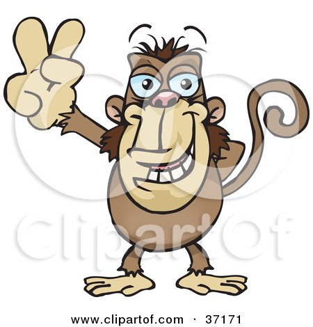 Clipart Illustration of a Peaceful Monkey Smiling And Gesturing The Peace Sign by Dennis Holmes Designs