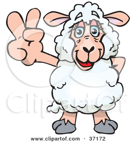 Clipart Illustration of a Peaceful Sheep Smiling And Gesturing The Peace Sign by Dennis Holmes Designs