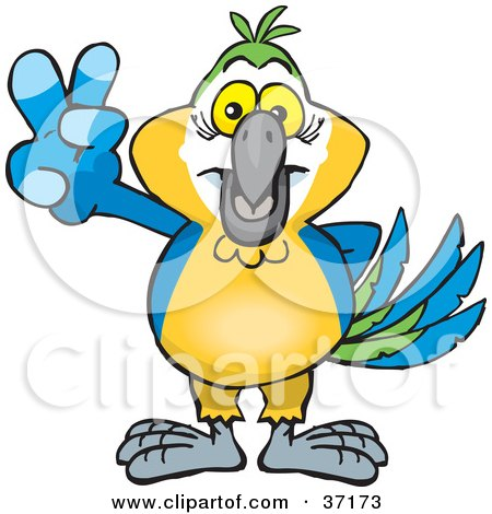 Clipart Illustration of a Peaceful Blue And Yellow Macaw Parrot Smiling And Gesturing The Peace Sign by Dennis Holmes Designs