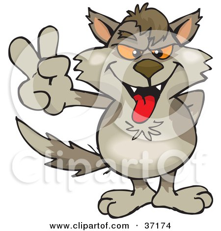 Clipart Illustration of a Peaceful Wolf Smiling And Gesturing The Peace Sign by Dennis Holmes Designs