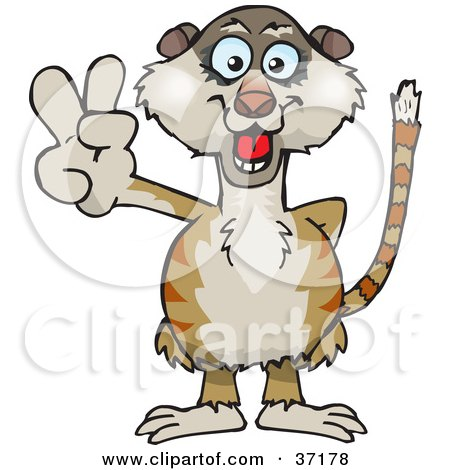 Clipart Illustration of a Peaceful Meerkat Smiling And Gesturing The Peace Sign by Dennis Holmes Designs