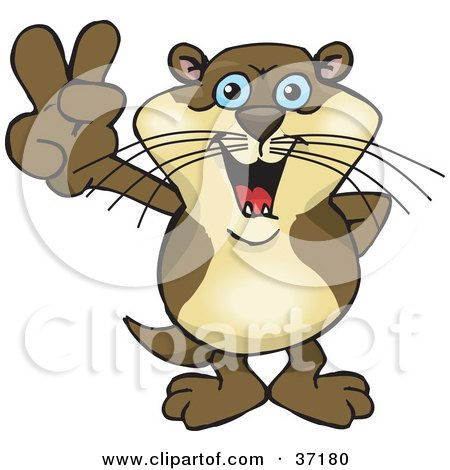Clipart Illustration of a Peaceful Otter Smiling And Gesturing The Peace Sign by Dennis Holmes Designs
