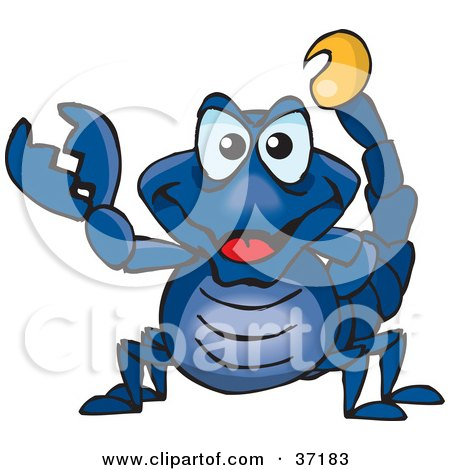 Clipart Illustration of a Peaceful Blue Scorpion Smiling And Gesturing The Peace Sign by Dennis Holmes Designs