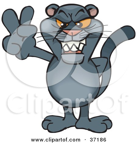 Clipart Illustration of a Peaceful Panther Smiling And Gesturing The Peace Sign by Dennis Holmes Designs