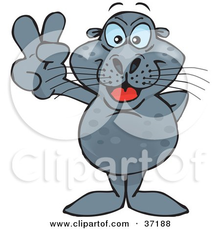 Clipart Illustration of a Peaceful Seal Smiling And Gesturing The Peace Sign by Dennis Holmes Designs