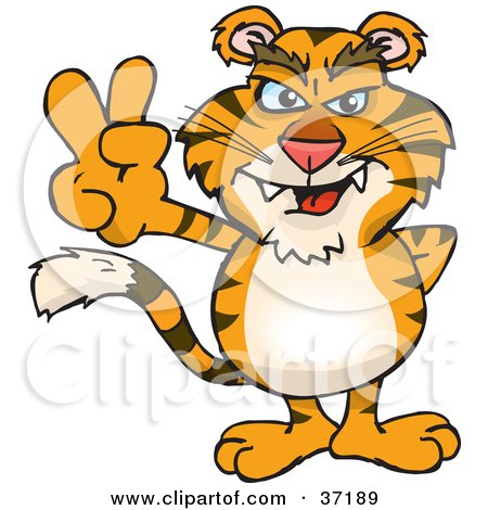 Clipart Illustration of a Peaceful Tiger Smiling And Gesturing The Peace Sign by Dennis Holmes Designs