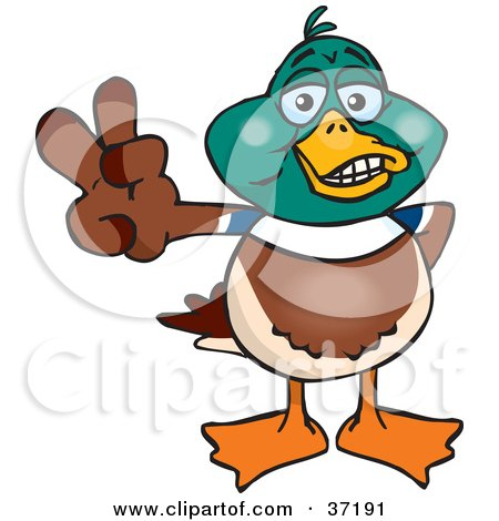 Clipart Illustration of a Peaceful Mallard Duck Smiling And Gesturing The Peace Sign by Dennis Holmes Designs