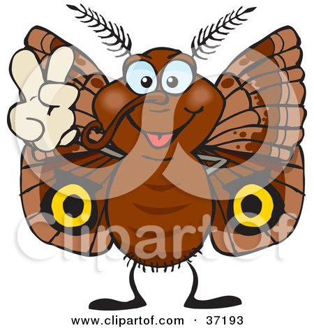 Clipart Illustration of a Peaceful Brown Moth Smiling And Gesturing The Peace Sign by Dennis Holmes Designs