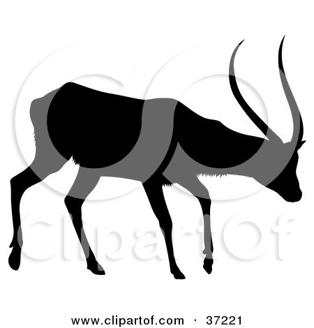 Clipart Illustration of a Black Silhouette Of A Walking Antelope In Profile by dero