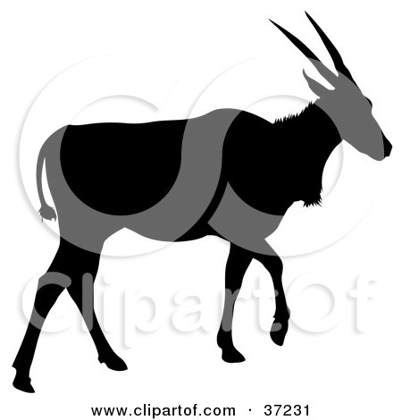 Clipart Illustration of a Black Silhouetted Walking Antelope by dero