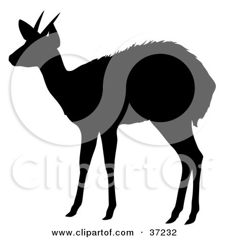Clipart Illustration of a Black Silhouette Of A Profile Of An Alert Antelope by dero