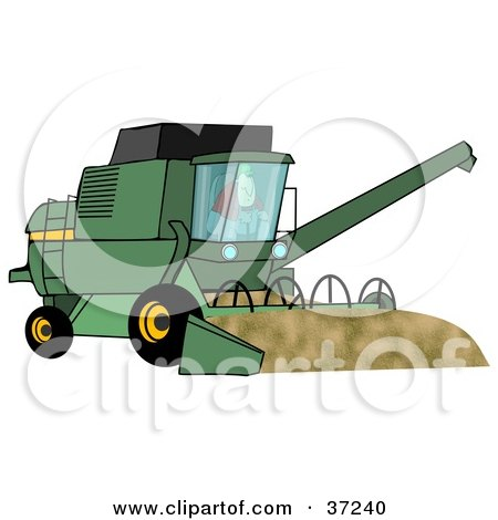 Clipart Illustration of a Male Farmer Operating A Green Harvester On His Farm by djart