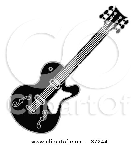 Clipart Illustration of a Black And White Guitar by Andy Nortnik