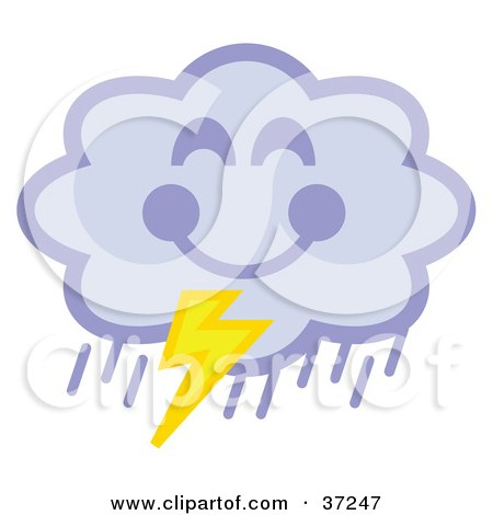 Clipart Illustration of a Happy Storm Cloud Pouring Rain And Striking Lightning by Andy Nortnik