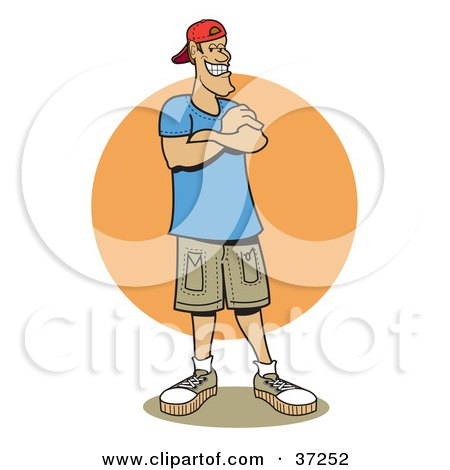 Clipart Illustration of a Friendly Caucasian Man Standing With His Arms Crossed by Andy Nortnik