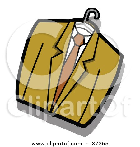 Clipart Illustration of a Green Jacket, Shirt And Tie On A Hanger by Andy Nortnik