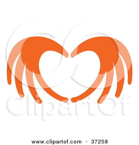 Clipart Illustration of Orange Red Hands Coming Together To Form A Heart by Andy Nortnik