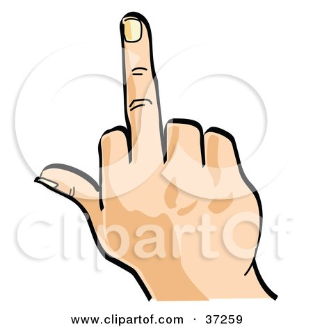 Clipart Illustration of a Mad Person Flipping The Bird by Andy Nortnik