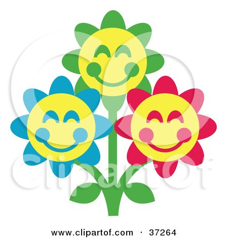 Clipart Illustration of Three Green, Blue And Red Happy Flowers With Yellow Centers by Andy Nortnik