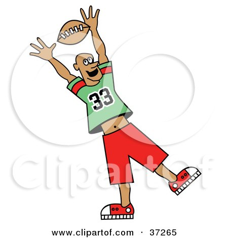 Clipart Illustration of a Football Player Reaching Up To Grab The Ball by Andy Nortnik