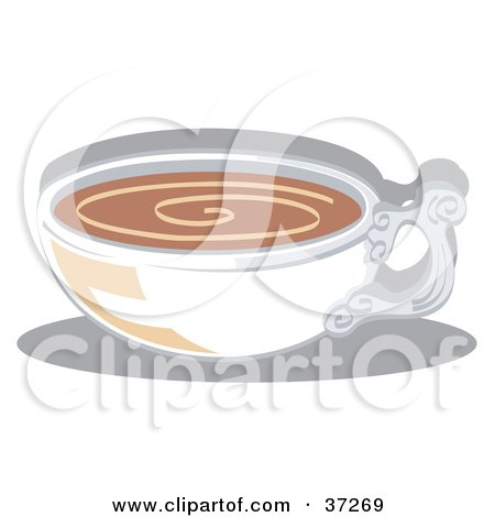 Clipart Illustration of a White Cup Filled With Coffee Or Hot Cocoa by Andy Nortnik