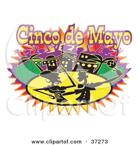 Clipart Illustration of a Silhouetted Couple Dancing on Cinco de Mayo by Andy Nortnik