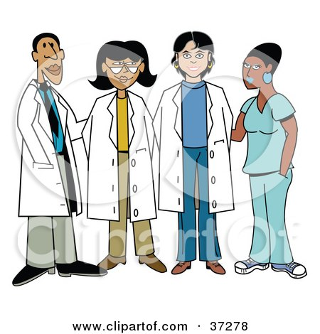 Clipart Illustration of One Black Male Doctor With Three Hispanic, Caucasian And Black Female Doctors by Andy Nortnik