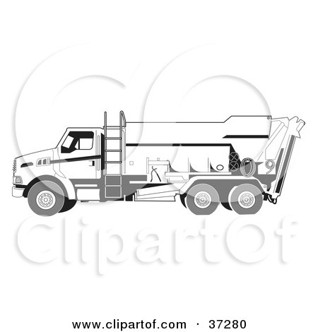 Clipart Illustration of a White Concrete Truck With A Ladder On The Side by Andy Nortnik