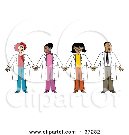 Clipart Illustration of a Team Of Three Ethnic Female Doctors With One Male Doctor by Andy Nortnik