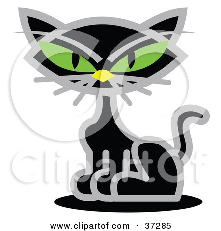 Clipart Illustration of a Black Cat With Piercing Green Eyes by Andy Nortnik