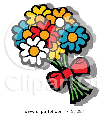 Clipart Illustration Of A Bouquet Yellow Blue Red And Orange