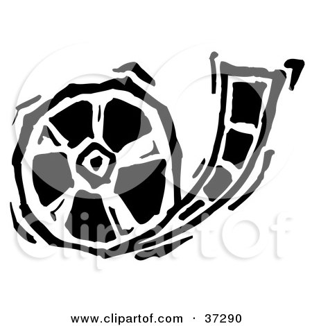 Clipart Illustration of a Black And White Rolling Film Reel by Andy Nortnik