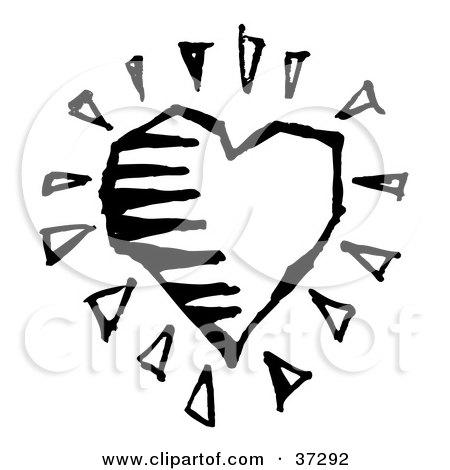 Clipart Illustration of a Black And White Heart With Bursts by ...