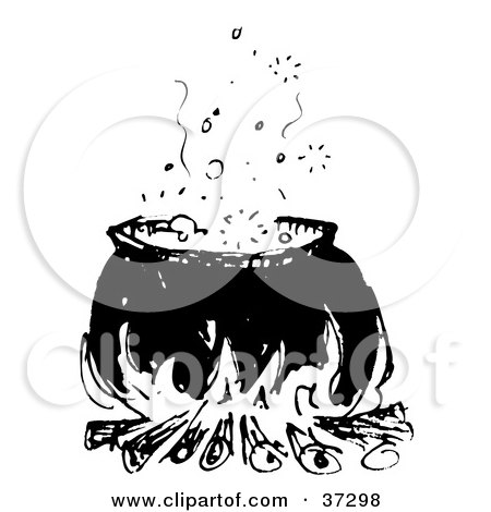 Clipart Illustration of a Black And White Cauldron With Boiling Liquid Over A Fire by Andy Nortnik