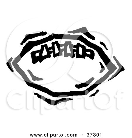 Clipart Illustration of a Black And White American Football With Stitches by Andy Nortnik