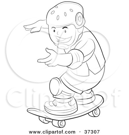 Clipart Illustration Of A Black And White Outline Of A Boy Wearing