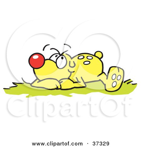 Clipart Illustration of a Relaxed Yellow Dog Laying In Grass And Thinking by Johnny Sajem