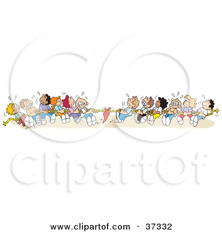 Clipart Illustration of a Group Of Sweaty Kids Pulling With All Of Their Might During A Game Of Tug Of War Posters, Art Prints