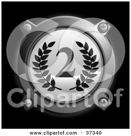 Clipart Illustration of a Chrome And Gray Second Place Icon Button With Laurels by Frog974