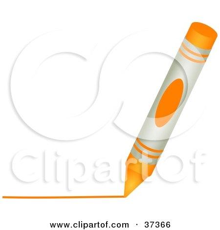 Orange Crayon Drawing A Line By Prawny