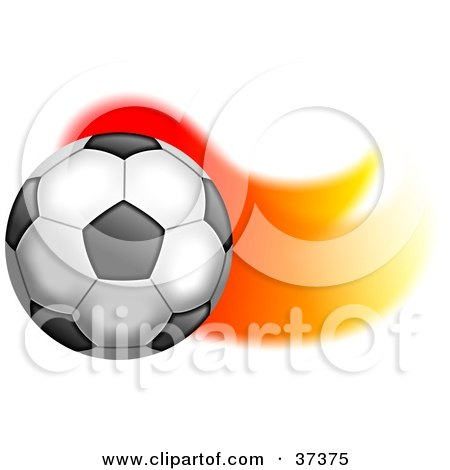 Clipart Illustration of a Soccer Ball With A Trail Of Flames by Prawny