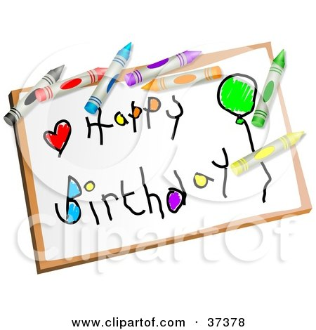 Clipart Illustration of a Childs Happy Birthday Drawing Drawing by Prawny