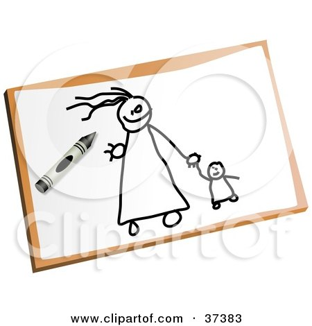 father and daughter holding hands drawing. Royalty-Free (RF) Clipart Illustration of a Stick Mom And Daughter Holding