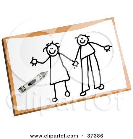 Illustration of a Black And White Line Drawn Couple Holding Hands