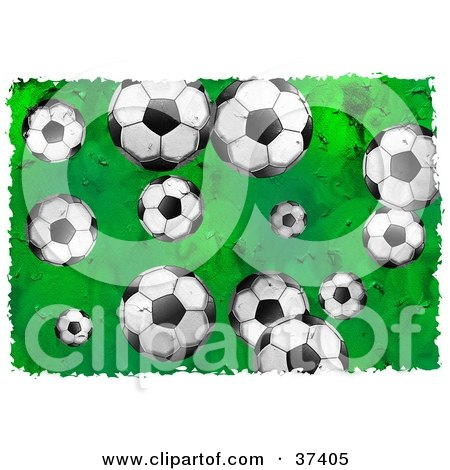 Clipart Illustration of a Background Of Soccer Balls On Green, Bordered In White by Prawny