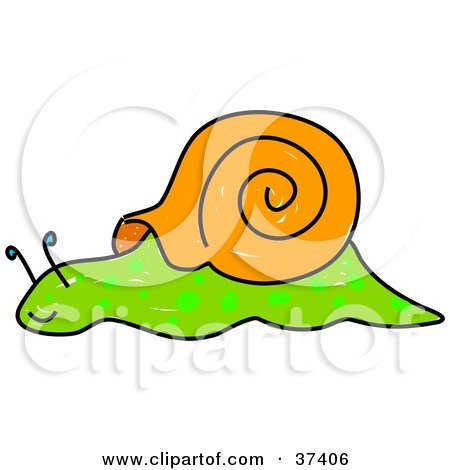 Clipart Illustration of a Slow Green And Brown Snail by Prawny