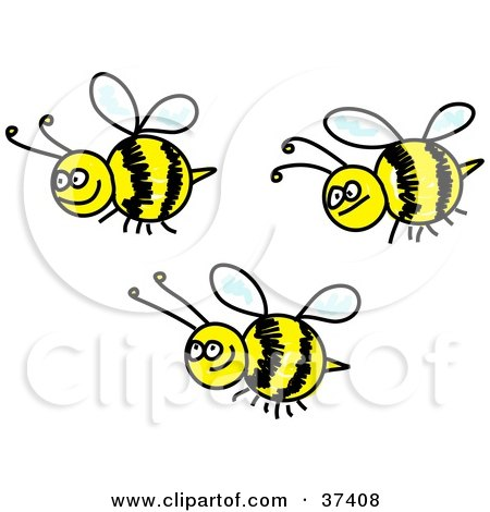 Clipart Illustration of Three Happy Honeybees by Prawny
