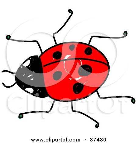 Clipart Illustration of a Crawling Red Ladybug by Prawny