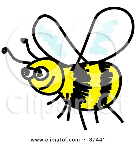 Clipart Illustration of a Happy Yellow And Black Honeybee by Prawny